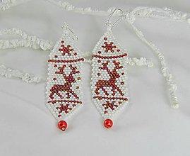 Náušnice - Vianočné náušnice červené so sobom - 7375104_