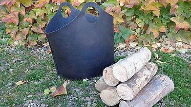 Nábytok - Kôš na drevo - hovädzia koža - čierna - 7373240_