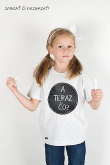 Detské oblečenie - Detské sivé tričko - odkaz vždy čerstvý - alebo tabuľa na tričku - 7378479_