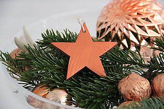 Dekorácie - Veľká hviezda kolekcia DREVO&MEĎ - 7380060_