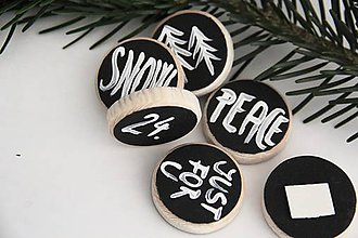 Dekorácie - Set tabuliek SNOW, 24, JUST FOR U, PEACE, TREES - 7380543_