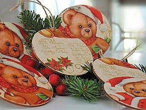 Dekorácie - Drevené vianočné ozdoby (vianočný macko 6ks) - 7379894_
