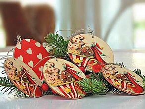 Dekorácie - Drevené vianočné ozdoby (Mikuláš 6ks) - 7380752_
