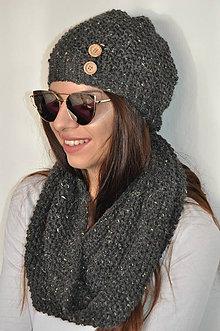 Čiapky - Sivá tweedová čiapka - 7378791_