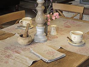 Úžitkový textil - Set - vidiecke ľanové doplnky do vašej štýlovej kuchyne - obrus a prestieranie - 7379978_