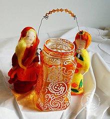 """Svietidlá a sviečky - Boho svietnik oranžový """"FAREBNÉ SVETLO V SKLE"""" - 7379816_"""