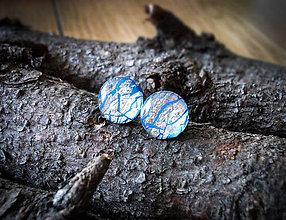 Náušnice - Krúžky 12 mm s kovovým efektom (modré) - 7378833_