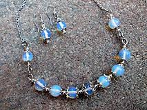 oceľový náhrdelník + náušnice s Opalitom