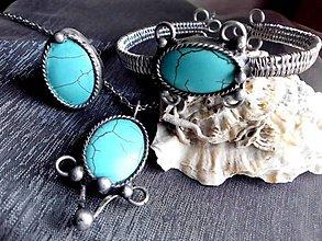 Sady šperkov - cínovaná sada s oceľou + tyrkenit - 7379164_