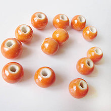 Korálky - Korálky porcelánové / gulička 8mm (Pomaranč) - 7378769_