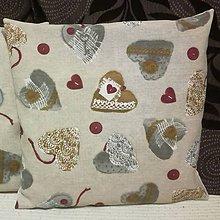 Úžitkový textil - Obrusy hnedé srdiečka (Vankúš srdiečka hnedý) - 7378344_