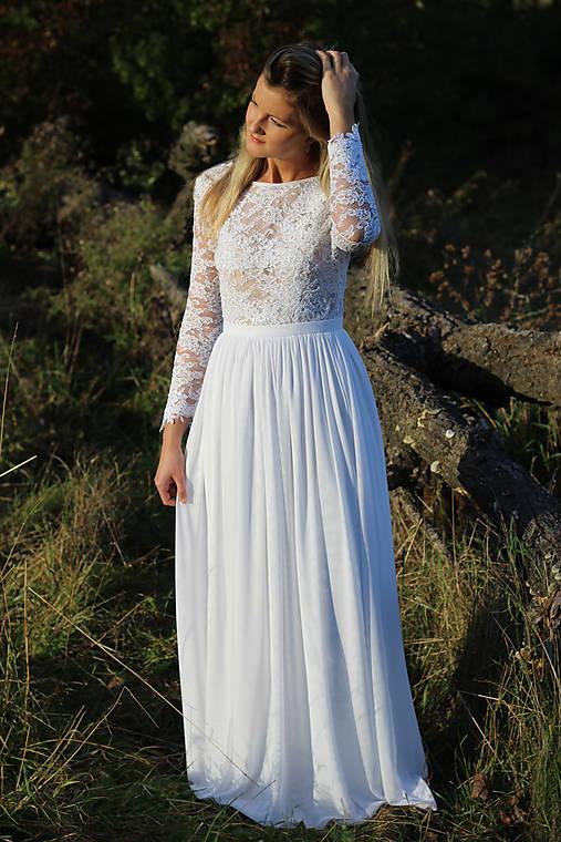 Svadobné šaty s dlhým rukávom   Dyona - SAShE.sk - Handmade Šaty 4a0315b1525