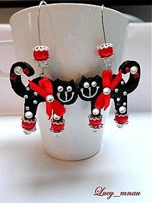 Náušnice - Náušničky mačičky čierne s červenou mašličkou :) - 7381103_