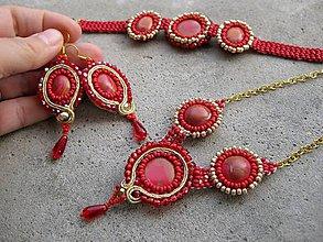 Sady šperkov - Červeno zlatá šitá sada č.595 - AKCIA - 7378419_