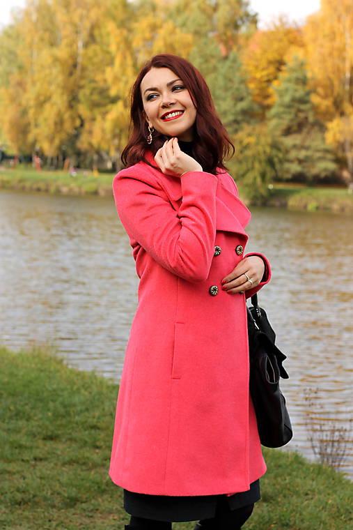 Vlnený kabát - červený