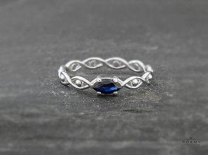 Prstene - 585/14k zlaty prsteň s prírodným modrým zafírom - 7386161_