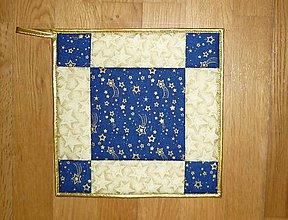 Úžitkový textil - Chňapka vianočná (modrá) - 7386466_