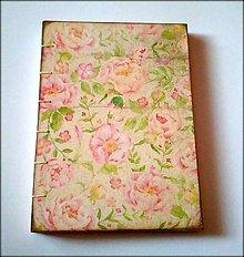 Papiernictvo - Ručne šitý zápisník/denník/diár/notes Vintage Ruže - 7384569_