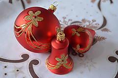 Dekorácie - Červená sada so zlatou dekoráciou - 7385198_