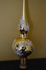 Dekorácie - Zlatý špic s hviezdičkami - 7385290_