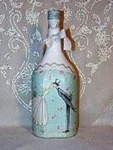 Nádoby - Svadobná fľaša Novomanželský bozk - 7383478_