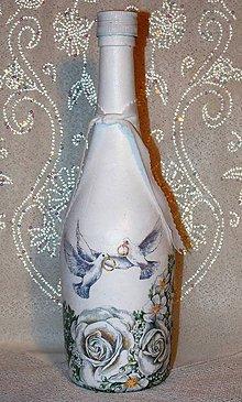 Nádoby - Svadobná fľaša Ako holúbky - 7383464_