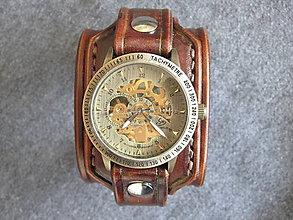 Náramky - Vintage kožené hodinky hnedé - 7384647_