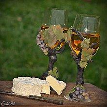 Nádoby - Vo víne je pravda - pohár na víno s viničom - 7385853_