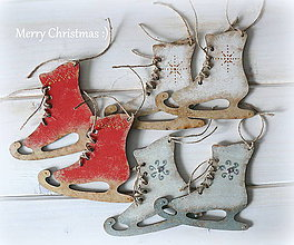 Dekorácie - Drevené korčule-Vintage ozdôbky :) - 7383544_