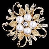 - Štrasová brošnička s perličkami zlatá - 7386552_