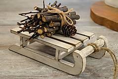 Dekorácie - Sane s viazaničkou dreva - 7385817_