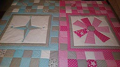 Úžitkový textil - Patchwork deky pre súrodencov - 7391916_