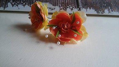 Ozdoby do vlasov - orange sponky - 7391535_