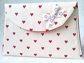 Taštičky - Be My Valentine pochette (cream/red) - 7389354_