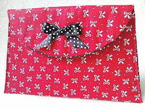 Taštičky - BonBon pochette (red/little white bows) - 7389523_