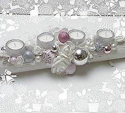 Dekorácie - Adventný svietnik_ Ružovostrieborné Vianoce ... BIG Classic - 7388795_