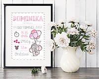 Detské doplnky - Personalizovaný print s údajmi o narodení bábätka A4 - Chevron  - 7388147_