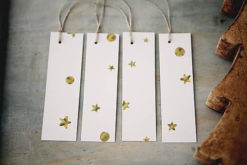 Papiernictvo - Vianočné visačky na darčeky - zlaté - 7389013_