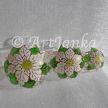 Dekorácie - sklenené gule - Vianočná ruža biela - 7391550_