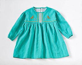 Detské oblečenie - Vyšívané šaty tyrkysové - 7390314_