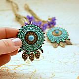 - Turquoise Target- vyšívané náušnice - 7388947_