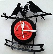 Hodiny - Svadobné hodiny - zaľúbené vtáčiky - 7391449_