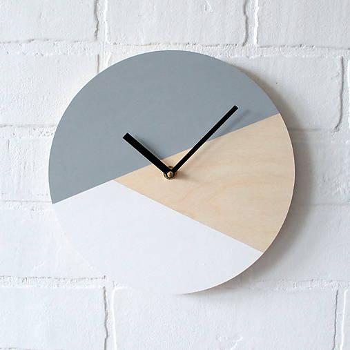 Hodiny - Nástenné hodiny Sivo-bielo-čierne (45 cm) - 7388776_