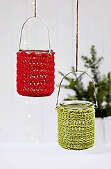 Svietidlá a sviečky - Vianočný svietnik červená/zelená - 7387848_