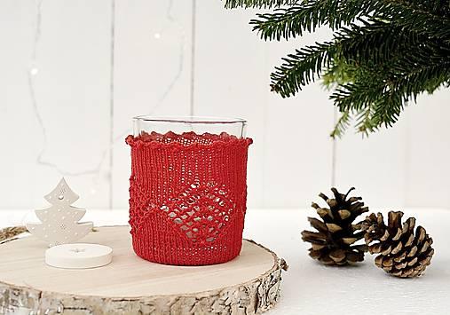 Svietidlá a sviečky - Vianočný svietnik malý (červený) - 7387822_