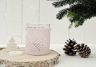 Svietidlá a sviečky - Vianočný svietnik malý (ružový) - 7387818_