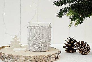 Svietidlá a sviečky - Vianočný svietnik malý (sivý) - 7387820_