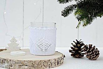 Svietidlá a sviečky - Vianočný svietnik malý (biely) - 7387825_