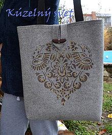 Kabelky - Filc kabelka hnedý ornament - 7390094_