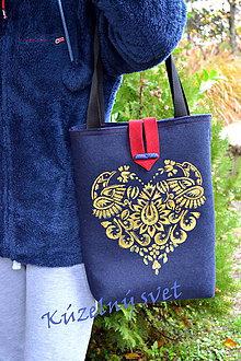 Kabelky - Filcová kabelka modrá - ornament - 7390160_